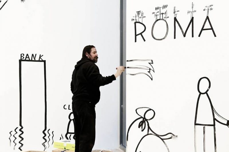 altrospazio fotografia, Dan Perjovschi installa la sua opera al MACRO di Roma