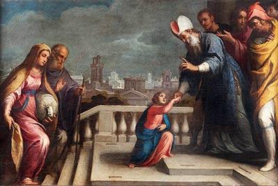 altrospazio fotografia, riproduzione in alta definizione (HD) della Presentazione della Vergine al tempio, di Claudio Ridolfi, conservata nel Palazzo Ducale di Urbino