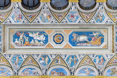 altrospazio fotografia, Villa Farnesina, soffitto della Loggia di Galatea dipinto da Baldassarre Peruzzi